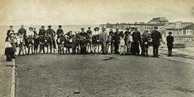 Donkeys at the beach in Rhyl c1917