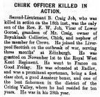 Chirk Officer Killed in Action - Llangollen...