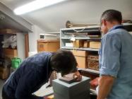Examination of slate sample, Oriel Ynys Môn