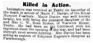 Killed in Action - Haverfordwest and Milford...