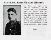 Gallipoli - LCpl Robert Williams - Penmaenmawr...