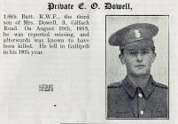 Gallipoli - Private Edward Oswald Dowel -...