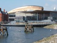Welsh Assembly building from across water to...