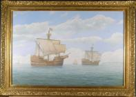 The Newport Medieval Ship - painting by Peter G...