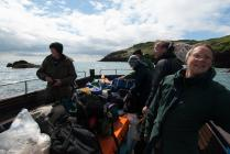 Skokholm - volunteers on the Dale Princess 27...
