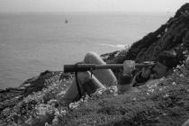 Skokholm - John Phillips seawatching above...