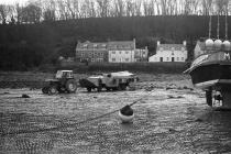 Skokholm – Dale - Tractor towing 'The Duck...