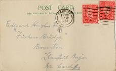 Reverse of postcard from Ship and Insurance...