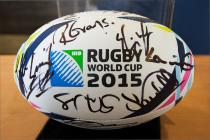 Official 2015 RWC ball, signed by Welsh players