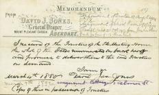 Receipt listing leases for Hen Dŷ Cwrdd, Trecynon