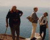 Skokholm - warden and visitors near lighthouse ...