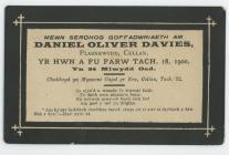 Memorial card for Daniel Oliver Davies