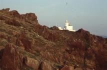 Above quarry with Skokholm Lighthouse, Skokholm...