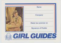 Girl Guides Promise Certificate