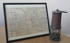 Letter and miners lamp from David (Dai) Lloyd...