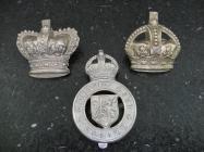 Three Cardiff Police cap badges