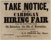 Take Notice that the Cardigan Hiring Fair 1861