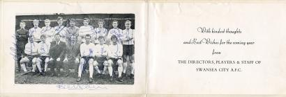 Christmas/New Year card, with signed team photo...