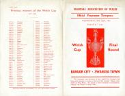 Programme covers, v. Bangor City, April 1961