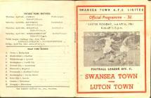 Football Programme  - Swansea Town versus Luton...
