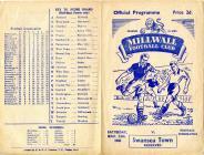 Football Programme  - Millwall versus Swansea...