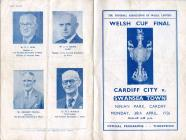Rhaglen Pêl-droed, Cardiff City erbyn Swansea Town