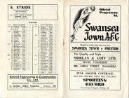 Football Programme  - Swansea Town versus Preston