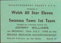 Ticket for - Welsh All Star XI versus Swansea Town