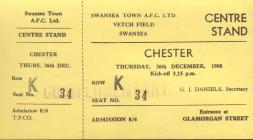 Ticket for Swansea Town versus Chester, 1968
