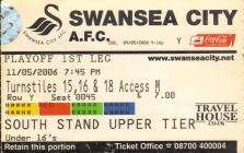 Ticket for Swansea Town versus Brentford, 2006