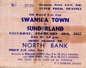 Ticket for Swansea Town versus Sunderland, 1955