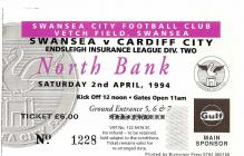 Tocyn Swansea City erbyn Cardiff City, 1994
