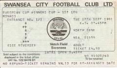 Tocyn Swansea City erbyn Monaco, 1991