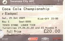 Ticket for Swansea City versus Blackpool, 2009