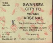 Ticket for Swansea City versus Arsenal, 1981