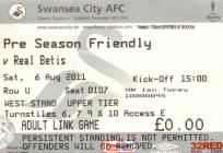Ticket for Swansea City versus Real Betis