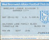 Ticket for West Bromwich Albion versus Swansea...