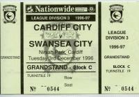 Ticket for Cardiff City versus Swansea City, 1996