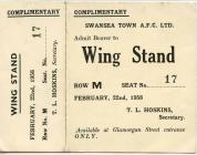 Ticket for Swansea Town versus Huddersfield Town