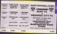Ticket for Bury versus Swansea City