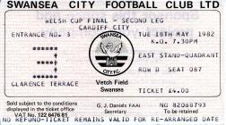 Tocyn Swansea City erbyn Cardiff City, 1982