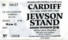 Ticket for Swansea City versus Cardiff City