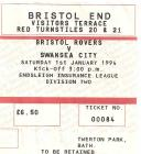Ticket for Bistol Rovers versus Swansea City