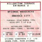 Tocyn Wycombe Wanderers erbyn Swansea City