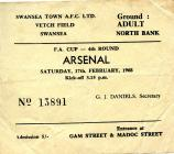 Ticket for Swansea Town versus Arsenal