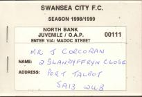 Swansea City Season Ticket, 1998-99