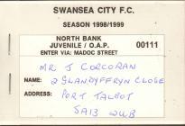 Tocyn y Tymor Swansea City, 1998-99
