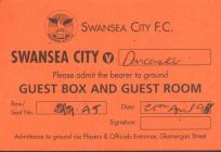 Ticket for Swansea City versus Doncaster Rovers...