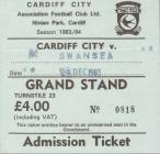 Ticket for Cardiff City versus Swansea City, 1983