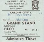 Tocyn Cardiff City erbyn Swansea City, 1983